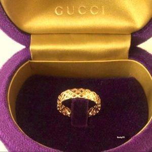New Authentic Gucci 18K Gold Diamantissima Ring